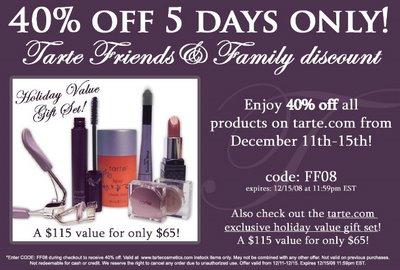 40% Off Tarte!