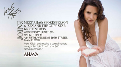 Meet AHAVA Spokesperson/SATC Star Kristin Davis at Lord & Taylor!