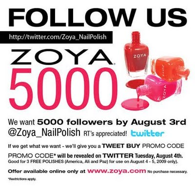 Follow Zoya On Twitter To Reveal a Promo Code!
