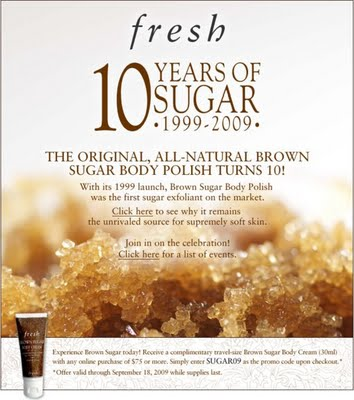Free Fresh Brown Sugar Body Lotion!