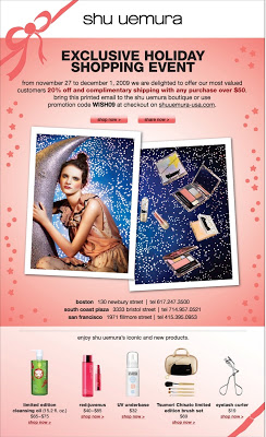 Shu Uemura Friends & Family AND Cyber Monday Sale