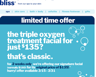 Bliss' The Triple Oxygen Treatment Facial For $135