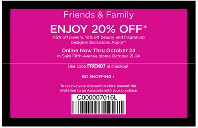 Saks Friends and Family Discount: 20% Off