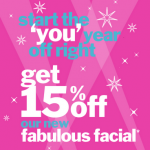 15% Off Bliss Spa Facials
