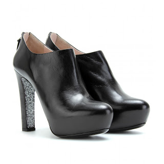 Surreptitious Sparkle: Miu Miu Black Leather Glitter Sole Ankle Booties