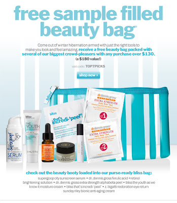 Bliss Beauty Bag Skin Care Gift With $130 Purchase