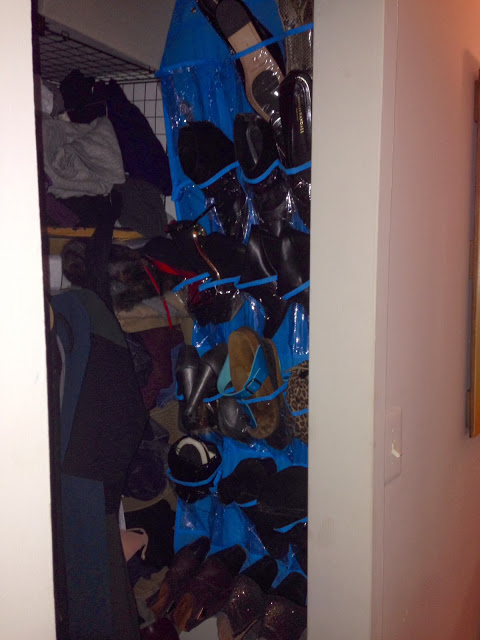 Life Hack: Over The Door Shoe Holders Nailed To Your Closet Wall