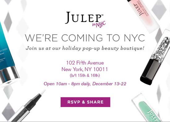 Julep Pop-up Shop Opens Tomorrow