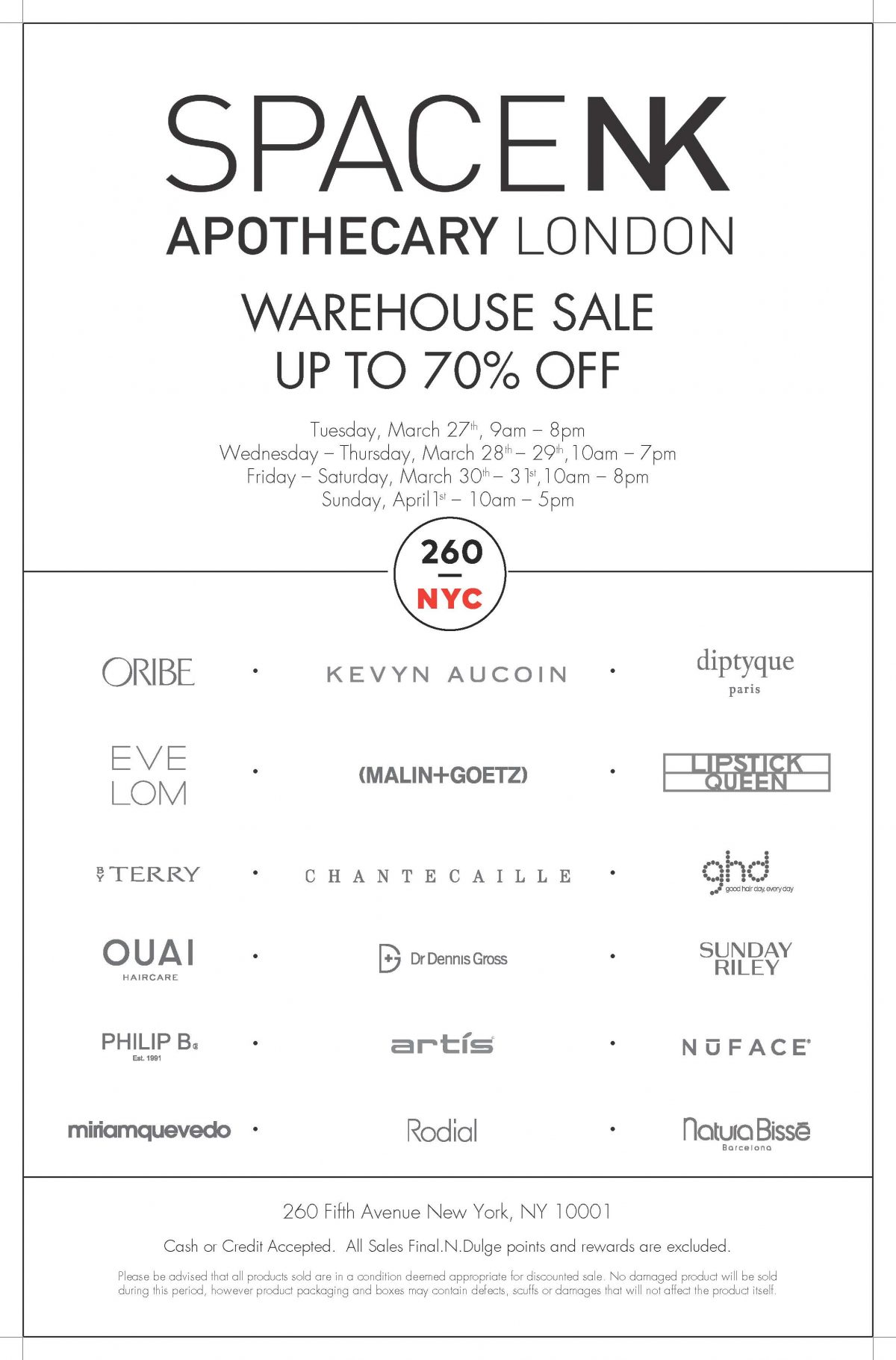 Space NK Sample Sale