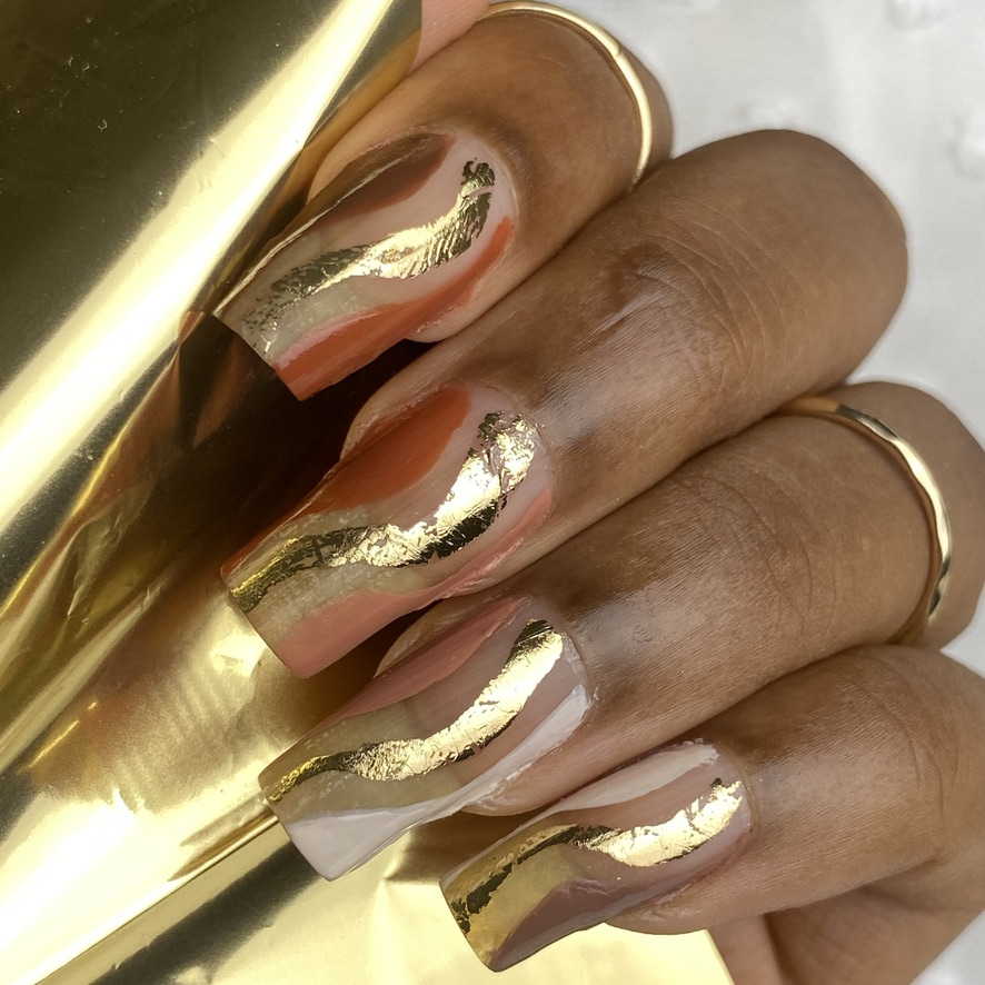 Mani of the Week: Gold Foil Swirl Nails with the OPI Malibu Collection