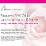 20% Off at Lancôme