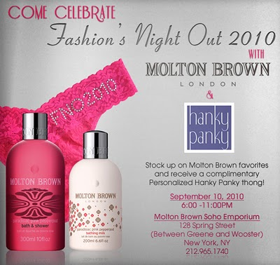 Fashion's Night Out: Hanky Panky & Molton Brown!