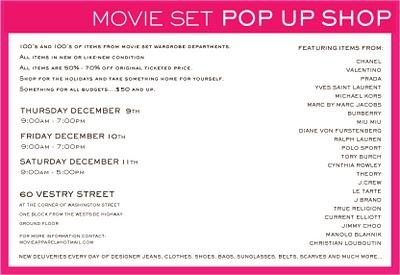 Movie Set Pop Up Shop in NYC