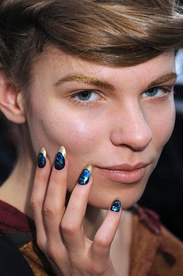 Glittery Brows and Rainforest Nails Backstage At Jen Kao