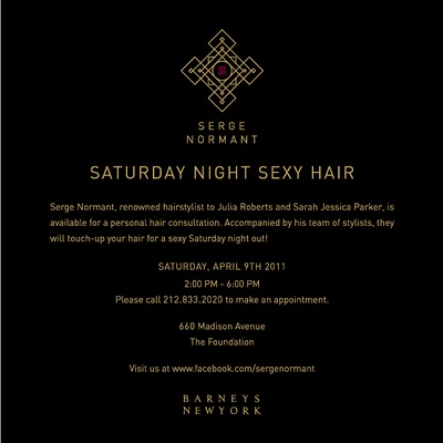 Get Your Hair Done By Serge Normant At Barney's This Weekend!