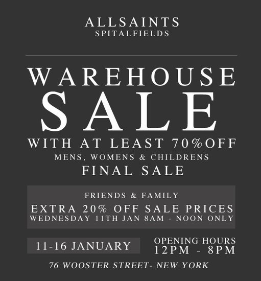All Saints Warehouse Sale