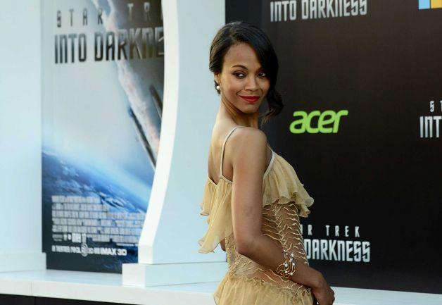 Makeup: Zoe Saldana At 'Star Trek Into Darkness' LA Premiere