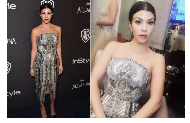 Recreate Kourtney Kardashian's Golden Globes Low Ponytail